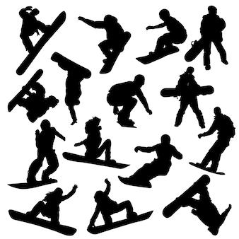 Neige hiver sport clip art silhouette vecteur