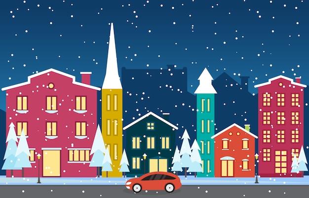 Neige hivernale en autriche ville paysage urbain horizon monument bâtiment illustration