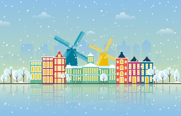 Neige hivernale dans le paysage urbain d'amsterdam cityline landmark building illustration