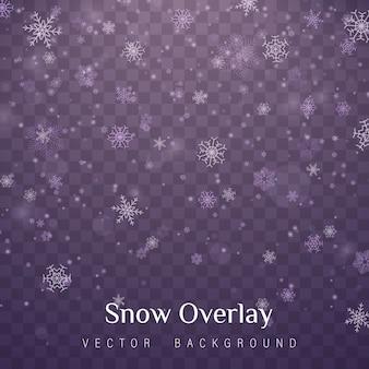Neige de noël. chutes de neige, flocons de neige sous différentes formes.