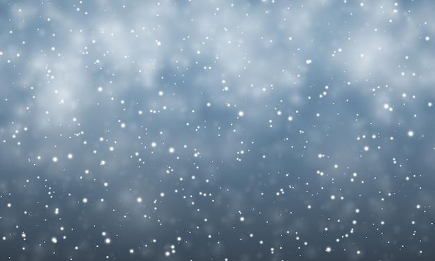 Neige de noël. flocons de neige tombant sur fond bleu foncé. chute de neige.