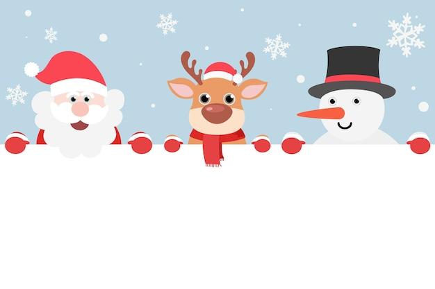 Neige avec le père noël, le bonhomme de neige et le renne