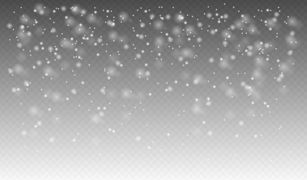 Neige qui tombe réaliste, flocons de neige de différentes formes et formes, temps d'hiver
