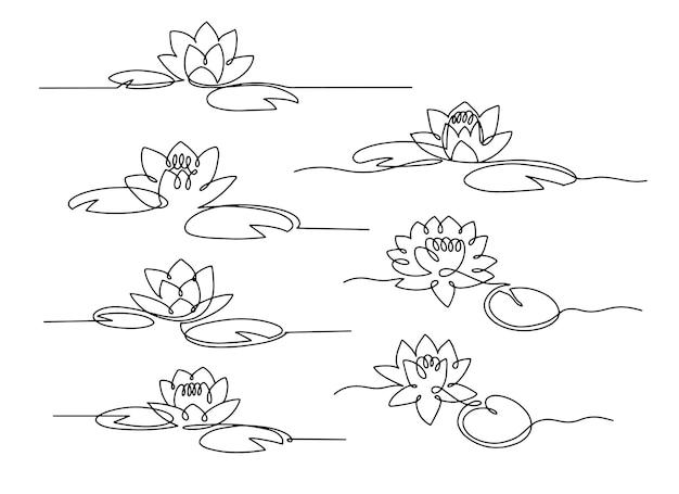 Nénuphar de dessin au trait. ensemble de lotus minimal avec des feuilles.
