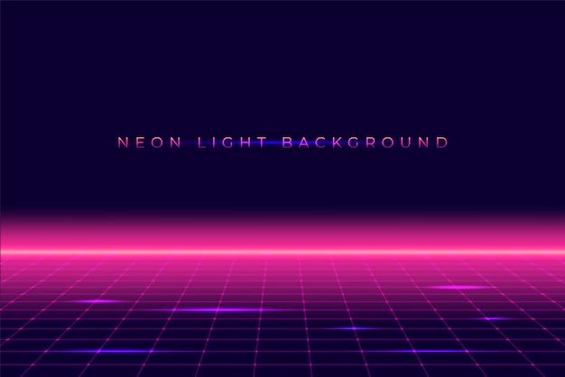 Néon 3d paysage de fond des années 80 style