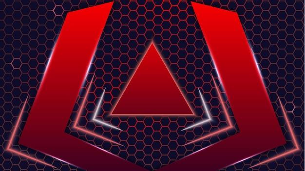 Néon abstrait futuriste rouge et noir coloré jeu moderne hexagone esports fond vecteur conception