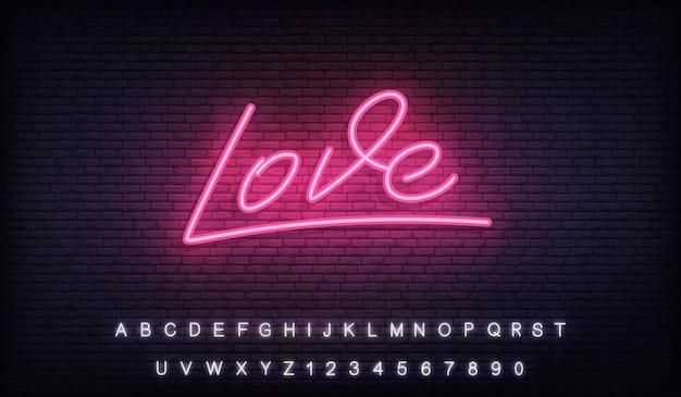Neon d'amour, signe de lettrage lumineux néon d'amour pour la saint valentin
