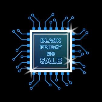 Neon black friday sale bannière avec puce et chipset sur fond sombre