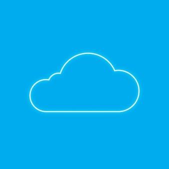 Néon bleu nuage icône vecteur système de réseau numérique