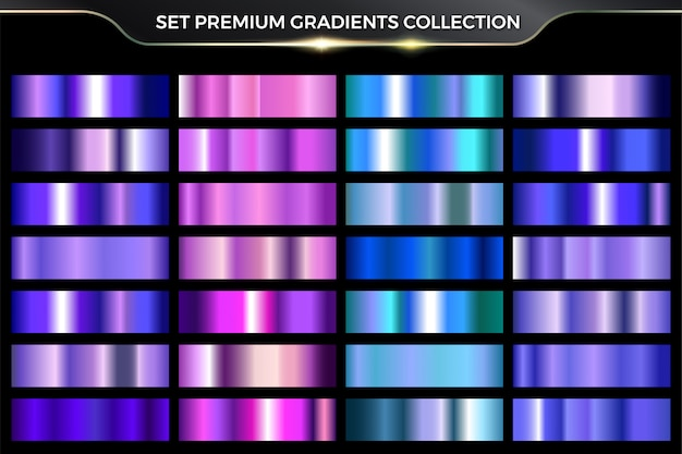 Néon brillant brillant métallique rose, violet, cyan, collection de jeu coloré dégradé bleu