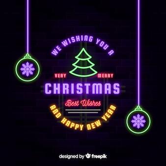 Neon christmas background