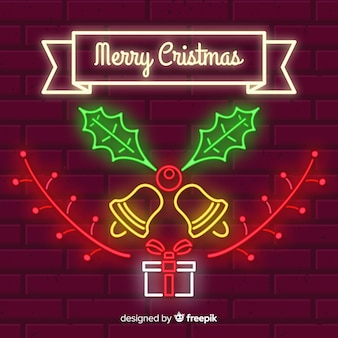 Neon christmas bell background