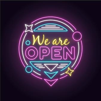 Néon coloré `` nous sommes ouverts ''