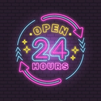 Néon coloré ouvert 24 heures