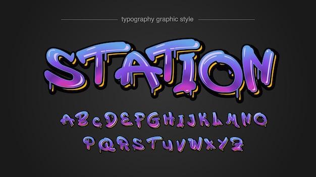 Néon coloré violet rose bleu dégoulinant style texte graffiti