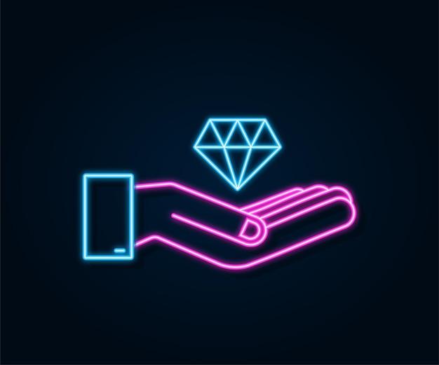 Néon de diamant avec la conception d'icône de main diamant avec l'icône de main dans la conception à la mode de modèle plat
