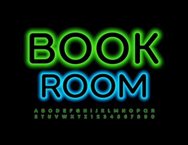 Neon emblem book room green illuminated font glowing alphabet letters and numbers