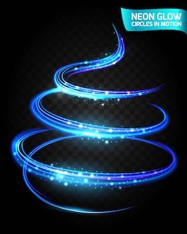 Neon glow cercles en mouvement des bords flous, design bleu magique. lumières abstraites dans une circulaire.