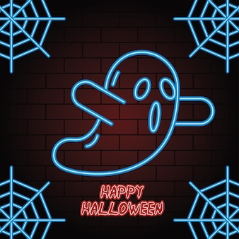 Néon halloween heureux de conception d'illustration vectorielle fantôme