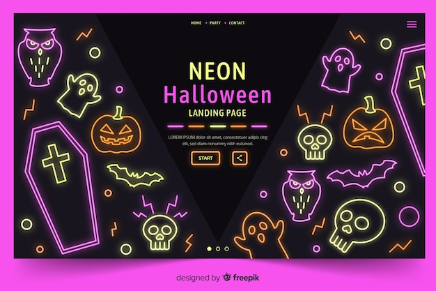 Néon halloween page de destination