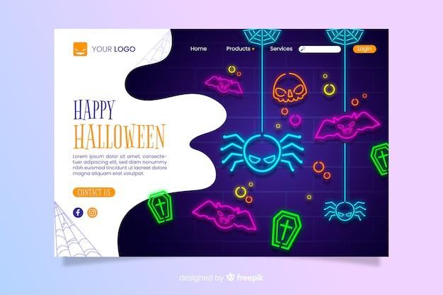 Néon halloween page de destination