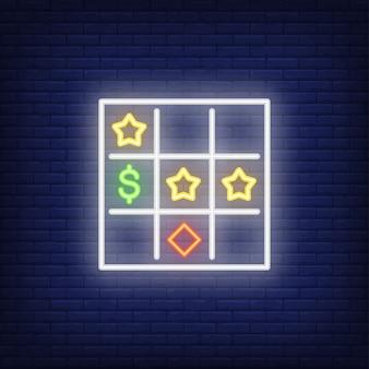 Néon icône de la carte de bingo