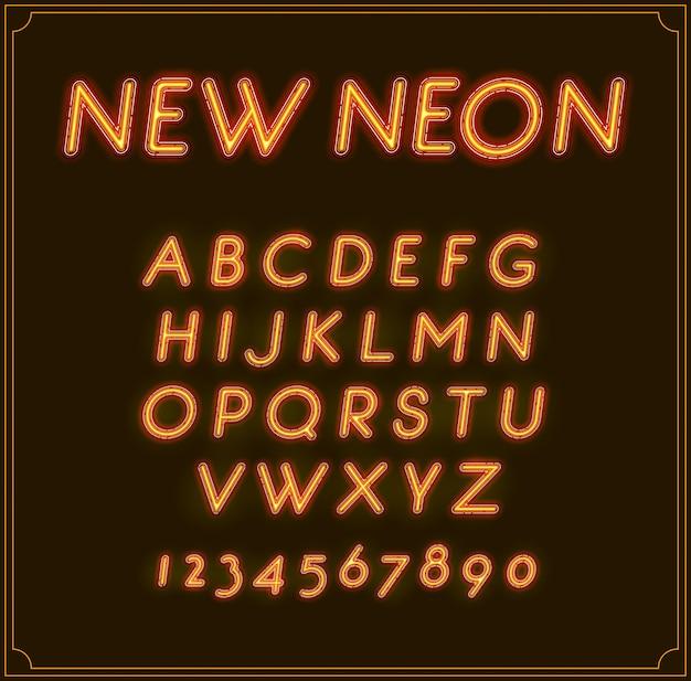 Neon italic font type alphabet. brillant. avec des chiffres.