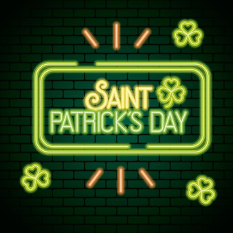 Néon de jour de saint patrick avec illustration de feuilles de trèfles