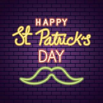 Néon de jour de saint patrick avec illustration de moustache