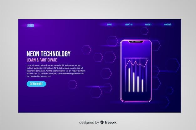Neon landing page avec smartphone