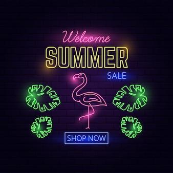 Neon light welcome soldes d'été