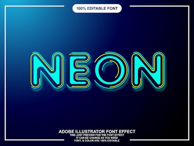 Néon lueur typographie éditable de style graphique illustrateur