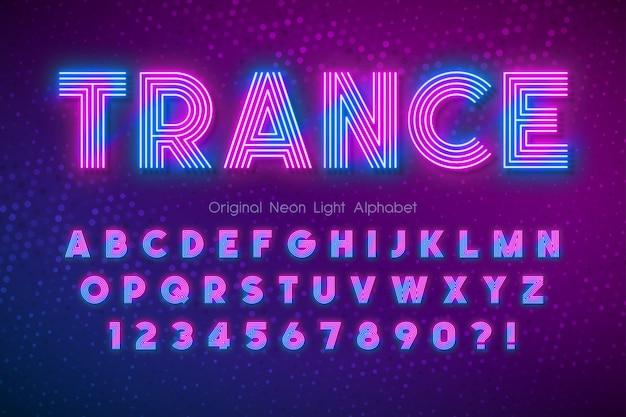 Néon lumière alphabet, police multicolore extra brillant.
