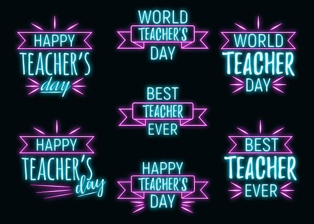 Néon meilleur jour des enseignants citation de texte de police de vacances