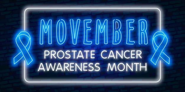 Néon movember, ruban bleu de sensibilisation au cancer de la prostate avec moustache au néon.