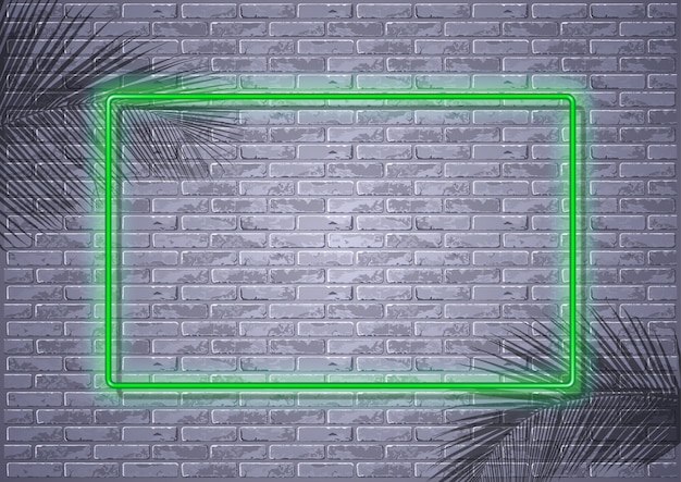 Néon sur mur de briques et ombres de feuilles de palmier