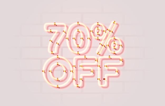 Neon off vente bannière signe vecteur de promotion de panneau