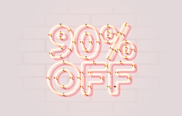 Neon Off Vente Bannière Signe Vecteur De Promotion De Panneau Vecteur Premium