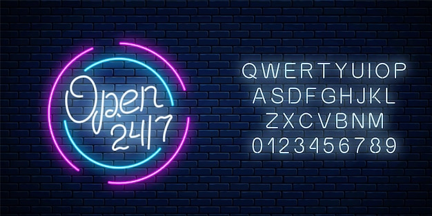 Néon ouvert 24 heures sur 24, 7 jours sur 7 en forme de cercle avec alphabet. barre de travail ou enseigne de magasin 24 heures sur 24