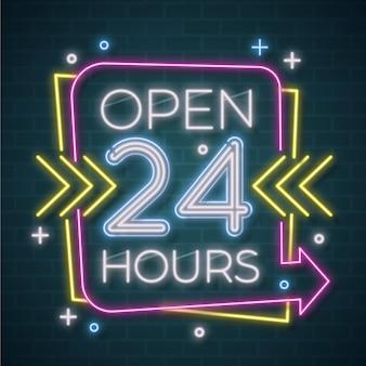 Néon ouvert vingt-quatre heures signe