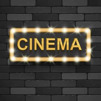 Néon Rétro 3d Cinéma Or Texte Signe Vecteur Premium