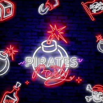 Néon rougeoyant emblème de pirate vintage