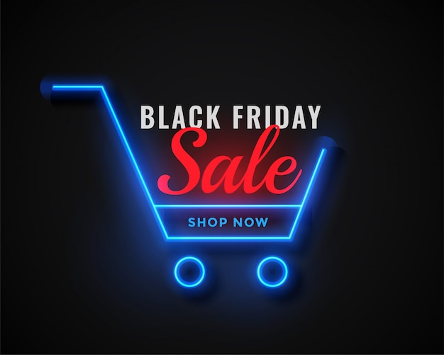 Neon shopping cart black vendredi vente