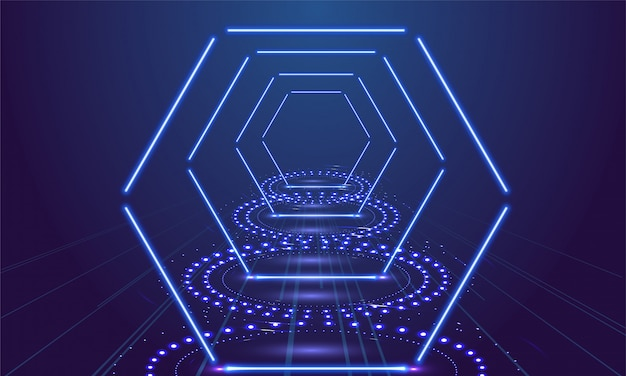 Néon show light fond bleu de podium. illustration vectorielle