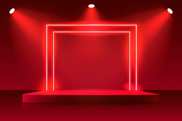 Neon show light podium fond rouge.