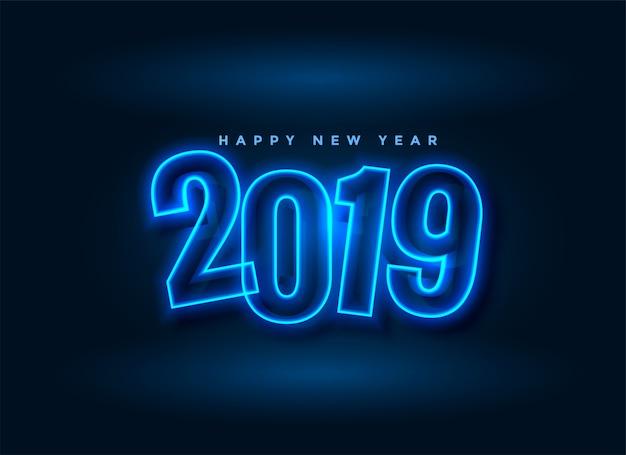 Néon style 2019 nouvel an fond