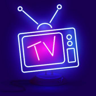 Neon tv icon blue