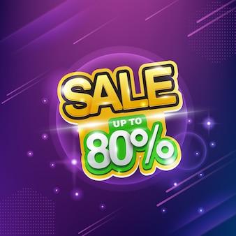 Néon vente, vente jusqu'à 80%, grande remise.