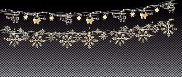 Néons et guirlande dorée avec hélicoptères, flocons de neige sur fond de grille transparente. joyeux noël et bonne année concept. illustration vectorielle.