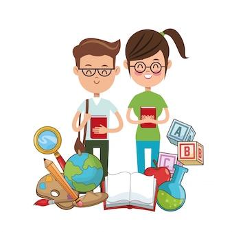 Nerd étudiants lunettes livre collégial outils